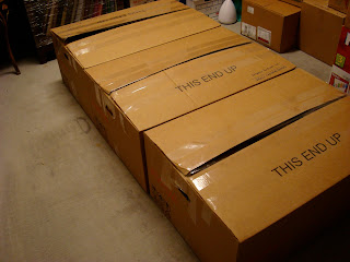 Large moving boxes on floor