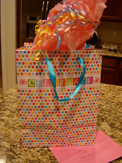 Gift bag with card and pink paper