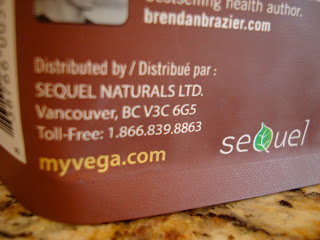 Company information on package of Vega's Shake & Go