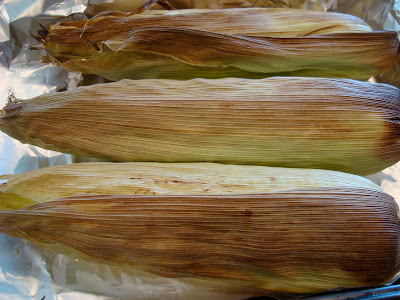 Overhead of roasted corn