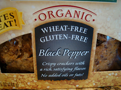Close up of box of Black Pepper Mary's Gone Crackers