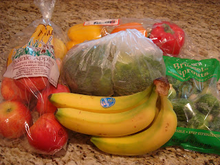 Packaged fruits and vegetables on countertop