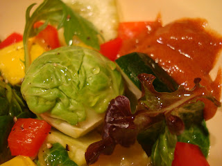 Mixed salad with side of cinnamon ginger dipping sauce