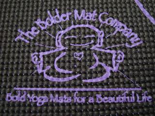The Bolder Mat Company logo on yoga mat