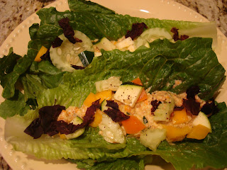 Sweet and Tangy Chickenless Chicken Salad on romaine leaves