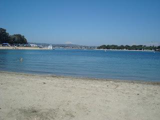 Sandy beach showing calm water