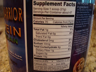 Nutritional information on Sun Warrior Chocolate Brown Rice Protein Powder container
