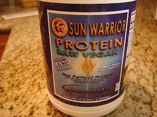 Sun Warrior Chocolate Brown Rice Protein Powder in container