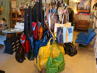 Handing purses and bags on metal rack