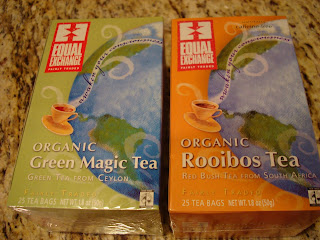 Organic Green Magic Tea and Rooibos Tea in packages