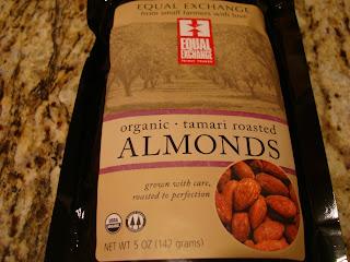 Bag of Organic Tamari Roasted Almonds on countertop