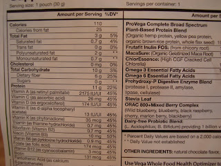 Nutritional label for Whole Food Optimizer