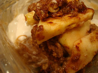 Close up of Raw Vegan Apple Crumble over Banana Softserve with cool whip
