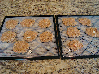 Mixture formed into pancake patties and placed on dehydrator trays