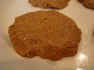 "Up close of one Maple & Flax ""Peanut Butter"" Pancake-Cookies"