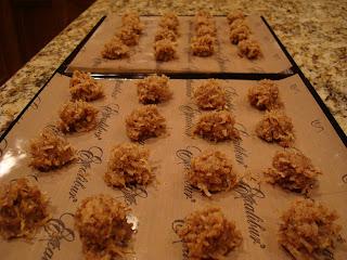 Blondie Macaroons on serving platters
