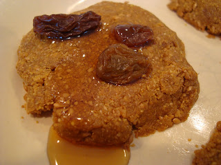 Close up of one No Bake Vegan Flaxseed & Maple Cookie