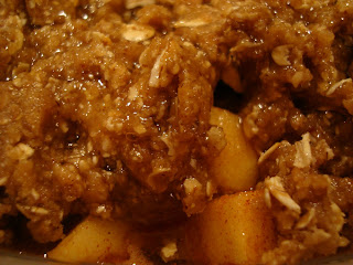 Close up of un-topped Raw Vegan Apple Crumble