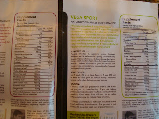 Supplement Facts on back of Vega Sport Performance Optimizers