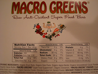 Nutritional facts on back of one Macro Life Naturals bar