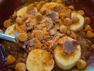 Spoon in bowl of Butterfinger Oats