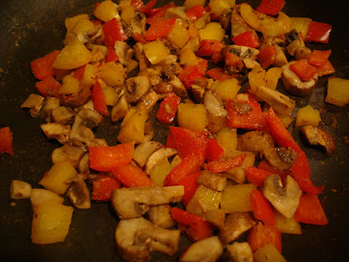 Softened vegetables for Vegan Fajitas in pan