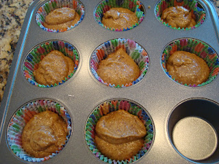 Batter in lined muffin tin