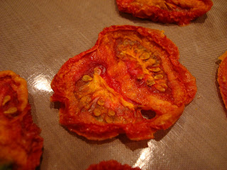 Up close of dehydrated tomato slice