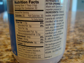Nutritional facts on Vegan Mayo