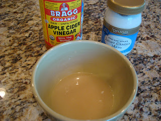 Mayo and cider vinegar whisked together in bowl