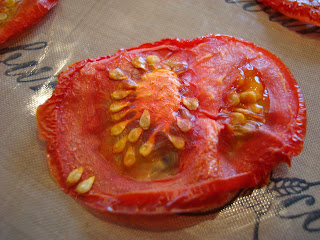 Up close of dehydrated tomato