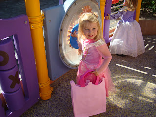 Little girl in fairy princess costume carrying pink bag
