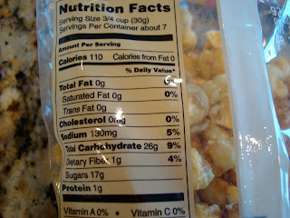 Nutritional Facs on back of Caramel Popcorn bag