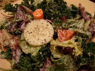 "Salad slathered in Creamy Tahini ""Cesar"" Inspired Vegan Dressing"