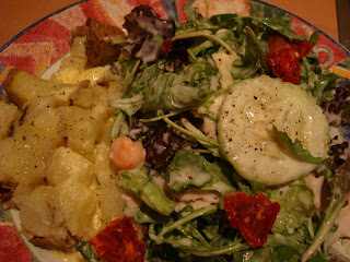 Salad with CreamyVegan Cesar-Inspired Tahini Dressing and potatoes on side