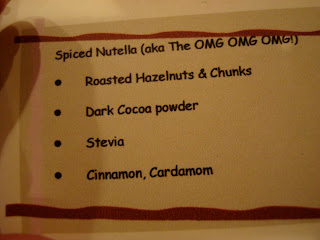 Note with ingredients in Spiced Nutella