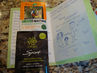 Hand written card with sample of GreenSuperFood