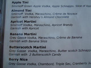 Specialty martini drink list
