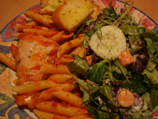 Baked Ziti with Chicken Parmesan and side salad
