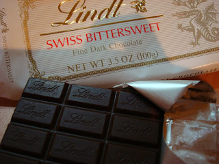 Unwrapped Lindt Swiss Bittersweet Chocolate bar