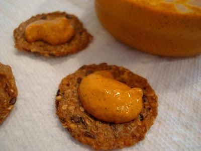 Close up of Cheezy Hemp Nacho Dip on cracker