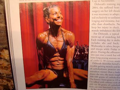 Woman body builder in magazine in bikini