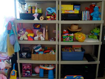 Shelves full of toys