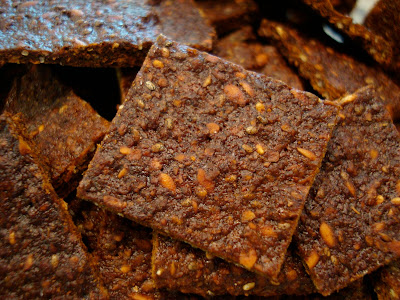 Vegan Sweet Seed Crackers stacked in container