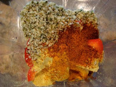 Ingredients for Cheezy Hemp Nacho Dip in blender