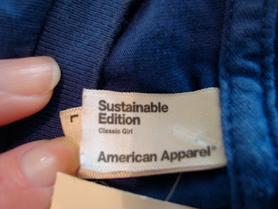Tag on shirt from American Apparel
