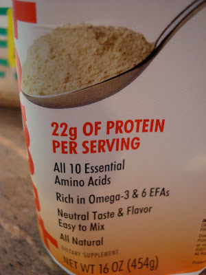 Container saying 22g of protein per serving