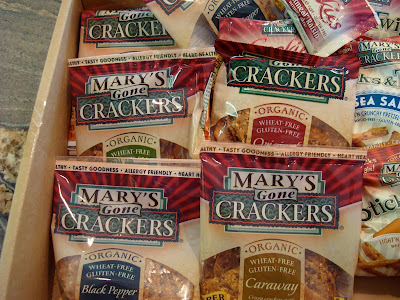 Close up of box full of Mary's Gone Crackers