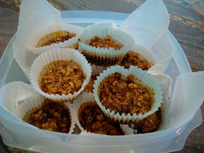 Vegan Gluten Free Cinnamon Raisin Banana Oatmeal Muffins in liners stacked in clear container