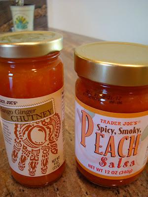 Jars of Peach Salsa and Ginger Mango Chutney